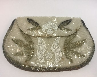 Small beaded purse, 1930 beads vintage white gray Pearl clutch cover