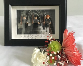 Harry Potter Hermione Granger Ron Weasley Framed Lego Compatible Minifigure Wall Display Bestfriend Birthday Gift Squadgoals