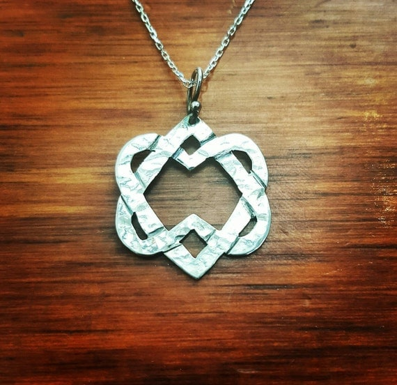 Two Hearts Necklace/Unified Heart/Intertwined Hearts/Silver