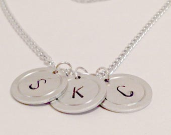 Initial Necklace, Monogram Necklace, Letter Necklace, Personalized Necklace, Bridesmaid Gift, Personalized Gift, Handstamped Necklace