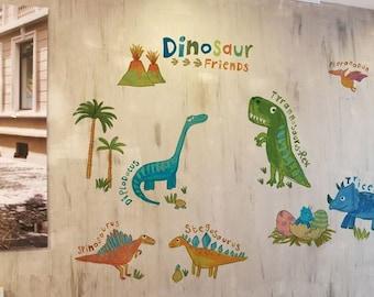 dinosaur decals/dinosaurs decals stickers/kids boy wall decor/boy window decals/dino decals/dinosaur mural sticker/zoo boy wall decor decal