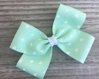 Mint Green and White Bow