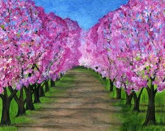 Giclee print of Cherry Orchard - 8x10
