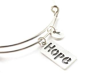HOPE bangle, silver tone hope bracelet, hope charm, initial bracelet, adjustable bangle, personalized jewelry, swarovski birthstone