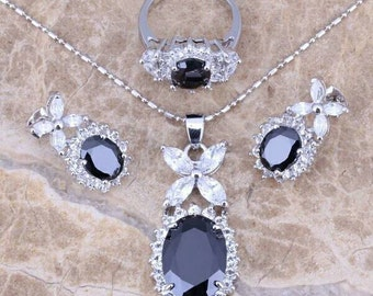 Black sapphire topaz Jewelry set silver