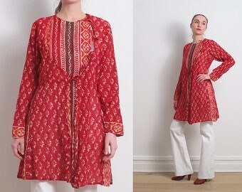 Vintage Indian Red Gauze Tunic Dress / S