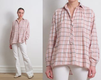 70s Salmon Pink Cotton Plaid Shirt / M