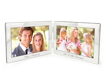 Engraved Double Silver Photo Frame - Personalised Twin Photoframe Gift