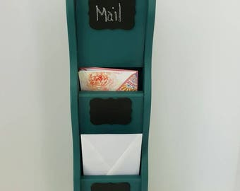 Mail organizer,wooden mail sorter,teal mail sorter,wall mail sorter,3 slot wooden mail station,upcycled wooden mail sorter,mail letter rack