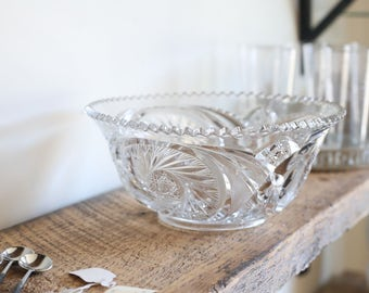 Vintage pressed glass serving bowl with sawtooth edge