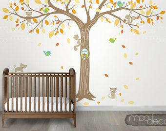 Fun filled giant tree with Playful animals wall decal with owl, birds, cat, squirrel removable wall sticker for nursery bedroom playroom