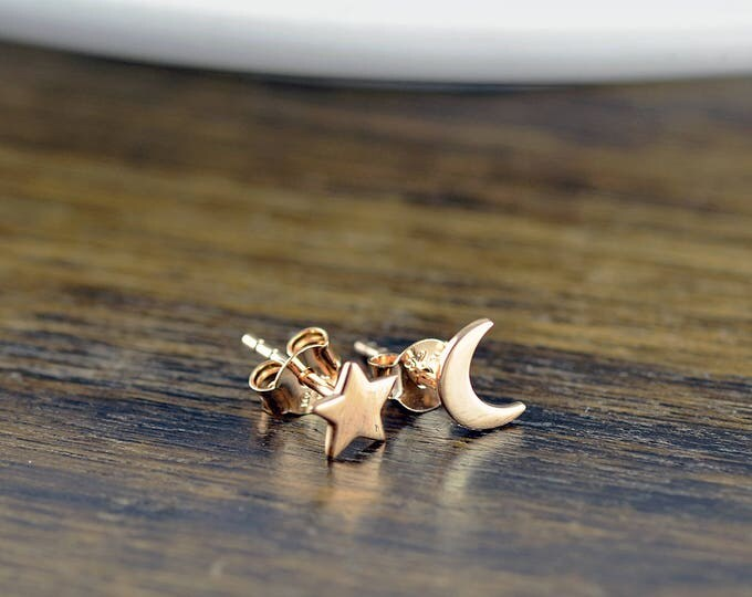 rose gold stud earrings -  star and moon earrings - stud earrings - celestial star and moon earrings - tiny stud earrings - cute earrings