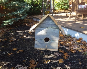 Bird house rustic style single house reclaimed wood fence