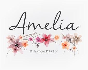Premade Logo Design - Vintage Floral Watercolor Script Calligraphy