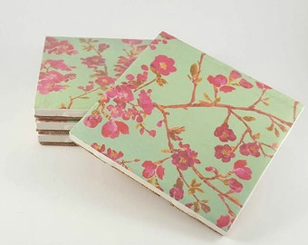Cherry Blossoms Coasters – Drink Coasters – Ceramic Tile Coasters – Housewarming Gift – Floral Patterned Coasters – Ceramic Coasters