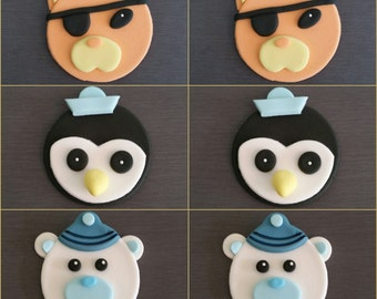 6 x Octonauts Cupcake toppers, Edible fondant Octonauts cake decorations