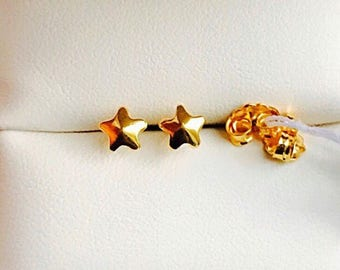 Solid 22k gold 916 gold puffy star earrings earstuds small size