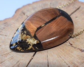 Wood Resin Pendant, Made in Italy, Handmade Necklace, B.Black n.15, Unique piece, Wood resin jewelry, Handmade Jewelry