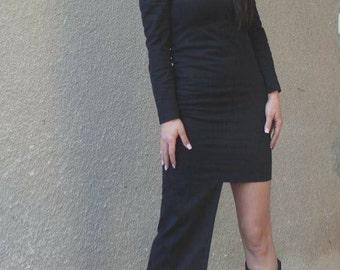 BLACK Asymmetric dress tunic/extravagant black asymmetric dress/black sleeve long dress/formal dress/elegant black dress/oversize black dres