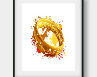 The One Ring, Lord of the Rings, Lotr Art, Lotr Poster, Lotr Watercolor, LOTR Painting, LOTR Gift, LOTR Print, Tolkien, Gandalf, Frodo,Golem