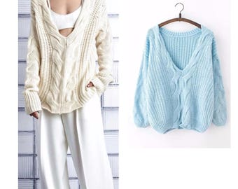 Oversize - ladies sweater.hand-knitted blouse.