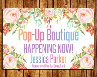 Pop Up Yard Sign - Boutique Yard Sign - Yard Sign - Fashion Consultant/Retailer Yard Sign - Watercolor Flower - Personalized - 18x27