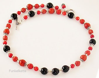 Necklace red & Black gemstone Onyx Black necklace coral gemstone jewelry appealing pretty impressively to the first classic necklace