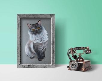 Cat original painting, Cat, Kitten, oil pastel, portrait, drawing, Illustration, Cat art, realistic