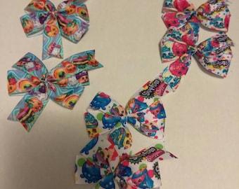 Shopkins inspired hair bow, food hair clips, toddler bows, baby hair clips, character bows, 2 piece mini bow set, baby hair bows