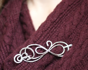 Beautiful Figure 8 shawl pin, brooch or scarf pin, infinity hair pin, unique design, gift for her,
