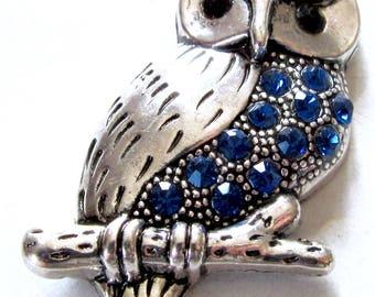 Pendentif Hibou en métal avec strass bleu