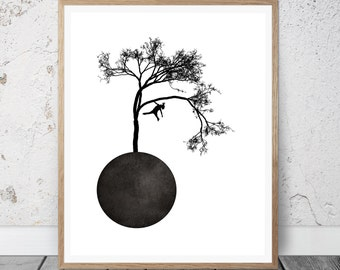 Geometric Modern Art, Tree Wall Art, Wall Art Prints, Instant Download Printable Art, Black and White Prints, Wall Prints, Wall Decor