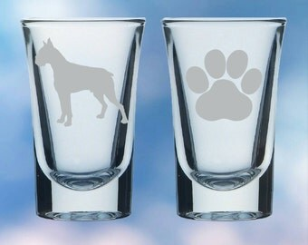 Set of 2 Boxer Dog and paw shot glasses - gift - permanently etched
