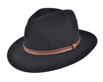 Vintage Look Fur Felt Fedora Trilby Hat With Polished Duel Leather Band