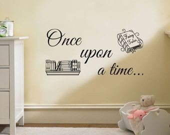 "Wall Quote, ""Once Upon A Time"" Wall Art Sticker, Vinyl Decal, Modern Transfer."