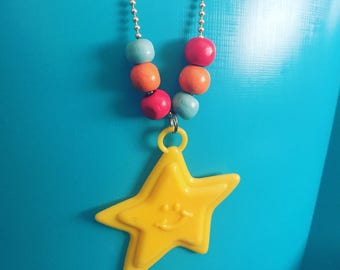 Star bright beaded necklace on silver chain! Colour pop sparkle!