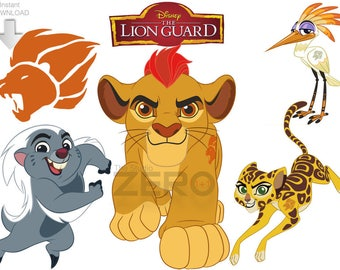 Disney Junior Lion Guard, 11 PNG, 11 JPG, 11 Mirror Images, Instant Download - 72-300DPI, Printable Iron On Transfer, Lion Guard Clipart