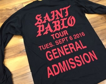 Saint Pablo Tour Long Sleeve T-Shirt, Kanye West Long Sleeve T-Shirt (Red-Print)