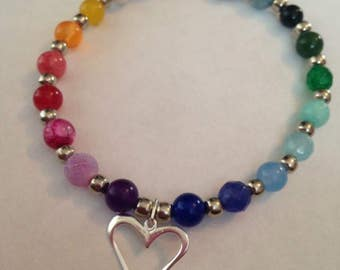 Rainbow gemstone and Sterling silver heart charm bracelet