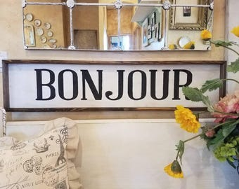 Hand Painted BONJOUR, French chic welcome wood framed sign