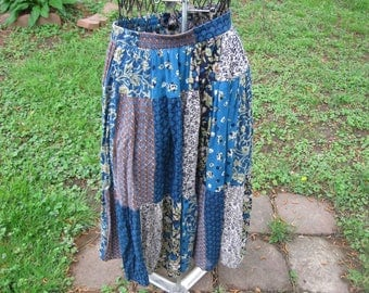 Sag Harbour Skirt . small . Summer Skirt . Fall Skirt . Boot Skirt . Gypsy Skirt   Tiered skirt