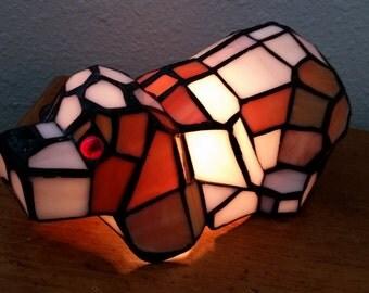 Tiffany Dog Lamp, Vintage Dog Lamp, Hard to Find Tiffany Lamp