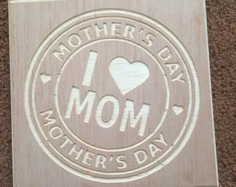 I love Mom carved plaque