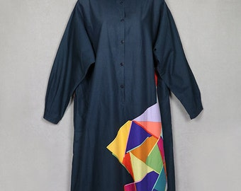 Marimekko oversized shirt dress, avant garde, color blocked gray black, blue, yellow, red, New Wave, caftan cocoon