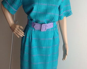 1980's Linen Skirt and Top Set Green and Lavender color made in Canada