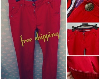Red women's jeans size eur 42