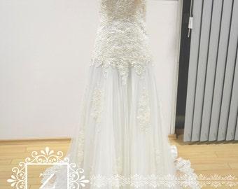 Wedding Dress/ Lace Corset Sweetheart Neckline A-Line Bridal Dress