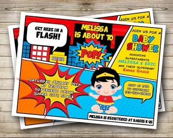 Superbaby baby shower/ Superhero baby shower Invitation. Digital File.