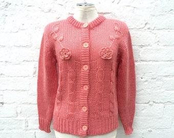 Vintage cardigan, floral knit cardi, dusky pink winter fashion