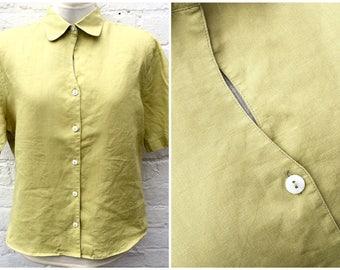 Linen shirt, vintage top, women's summer fashion